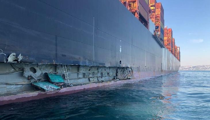 398 metrelik dev gemi, Marport'a ait iskeleye çarptı