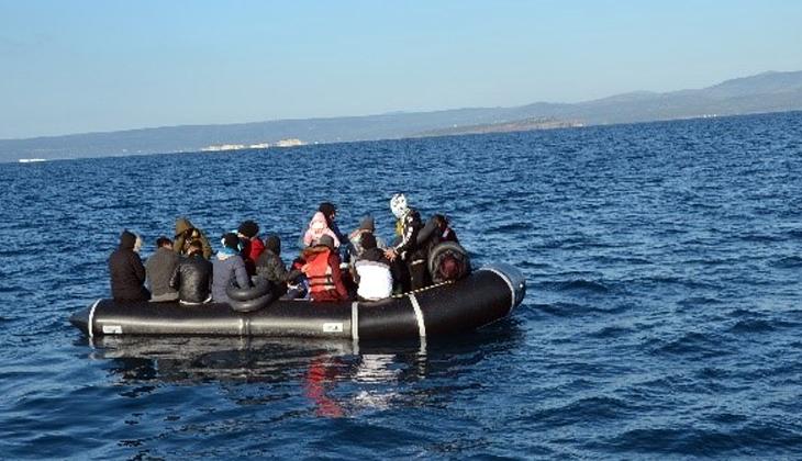 Ayvalık açıklarında 55 düzensiz göçmen kurtarıldı