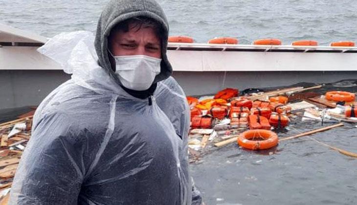 Fırtınada batan tur teknesinden denize atlayarak kurtulan genç, yaşadıklarını anlattı
