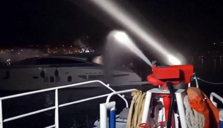İngiliz bayraklı teknede çıkan yangın söndürüldü