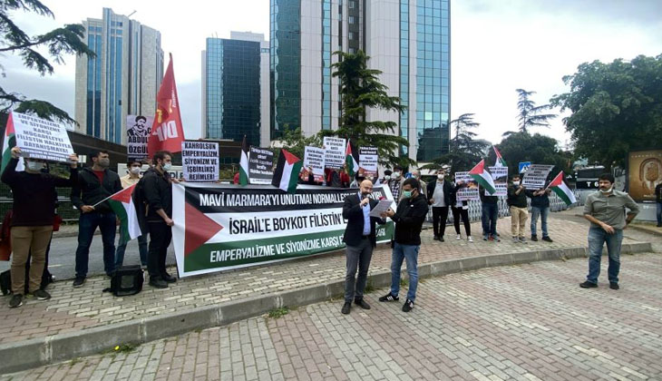 "İsrail Konsolosluğu önünde ""Mavi Marmara"" protestosu yapıldı"
