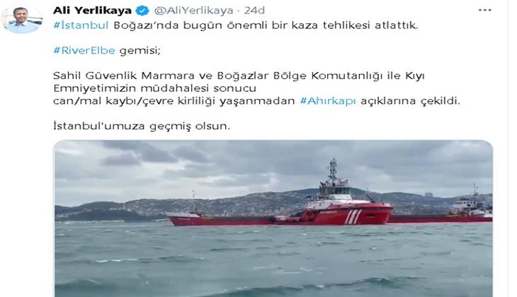 """İstanbul Valisi Ali Yerlikaya, """"İstanbul Boğazı'nda bugün önemli bir kaza tehlikesi atlattık"""""""