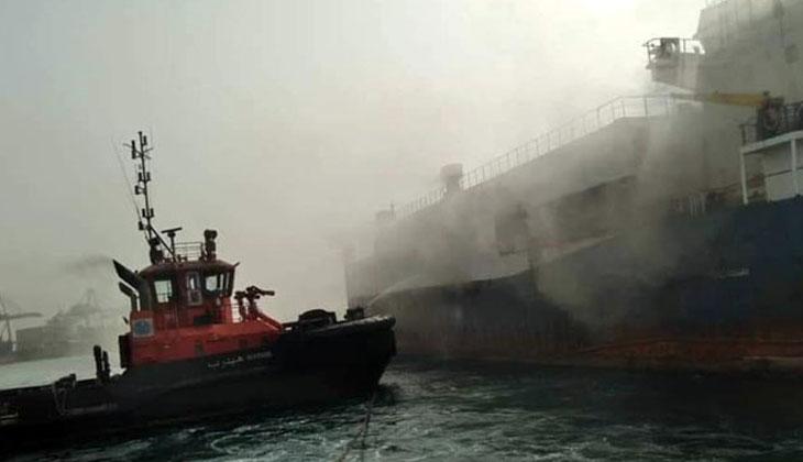 Limana yanaşan Ro-Ro gemisi küle döndü