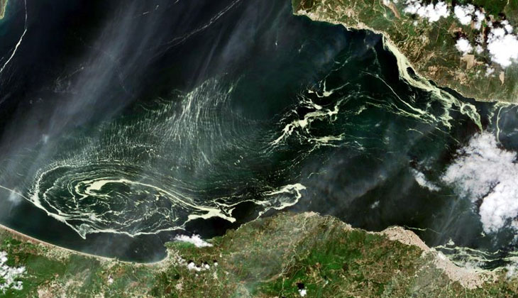 Marmara denizini saran deniz salyaları uydudan görüntülendi