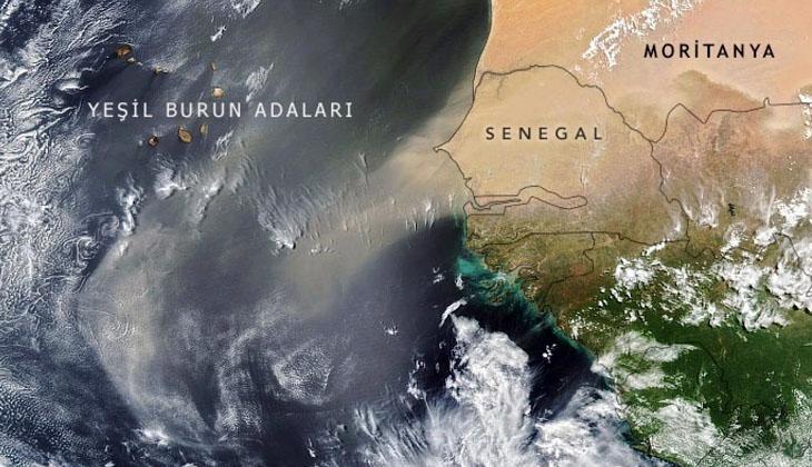 NASA, okyanusu geçen kum fırtınasını uzaydan görüntüledi